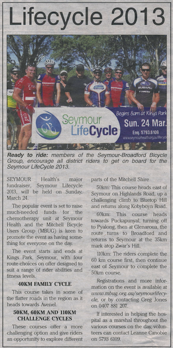 Seymour Broadford Cycling Club joins the LifeCycle